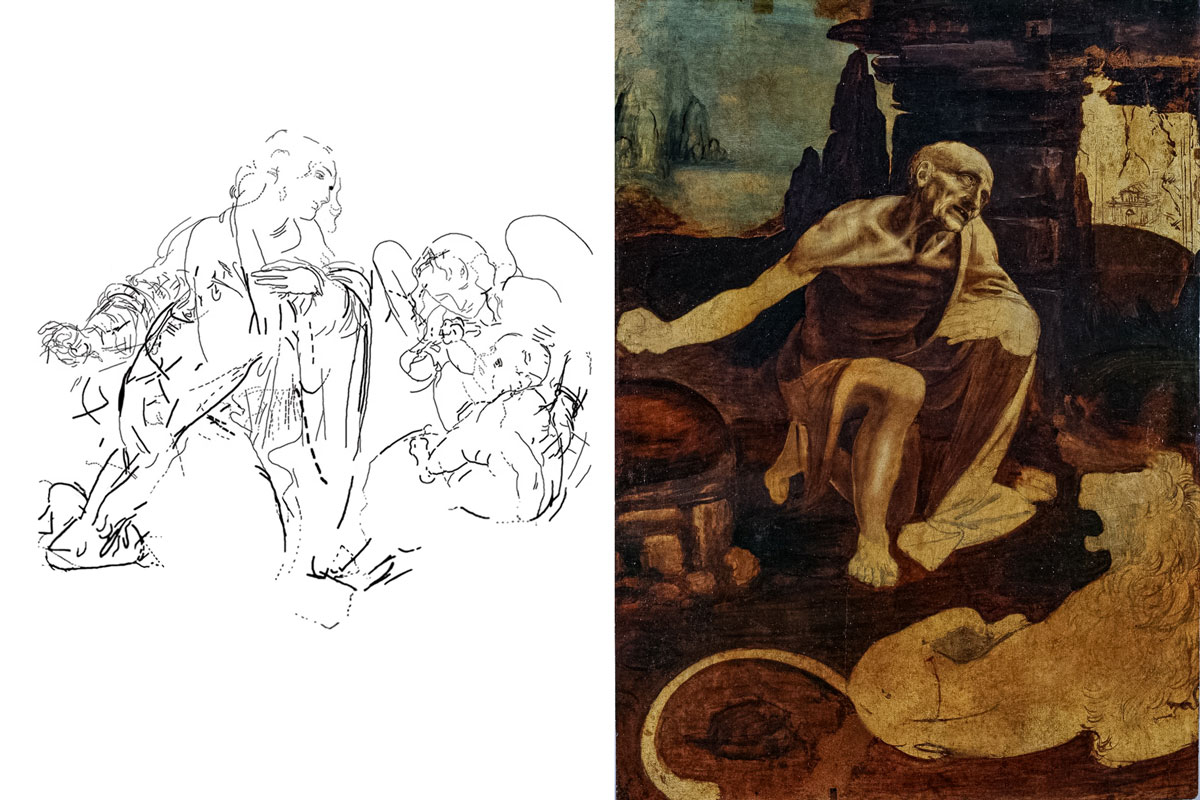 Plate 3: Underdrawing Left - St. Jerome Right